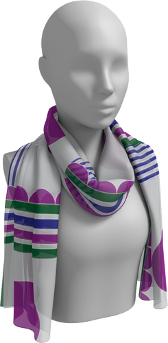 The Stripes and Circles Long Scarf-Long Scarf-Clash Patterns by Jennifer Akkermans