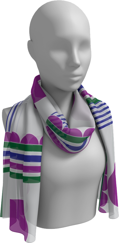 The Stripes and Circles Long Scarf