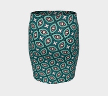 Load image into Gallery viewer, The Tera Fitted Skirt in Teal-Clash Patterns