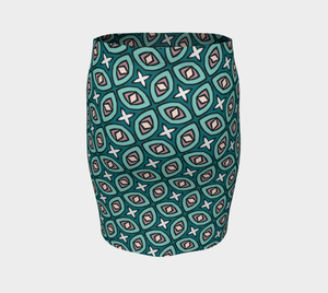 The Tera Fitted Skirt in Teal-Clash Patterns