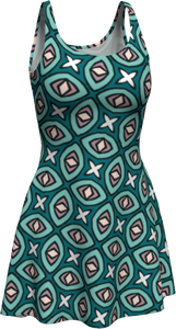 The Tera Flare Dress in Teal