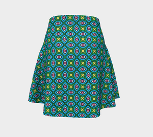 The Tera Flare Skirt in Bright-Clash Patterns