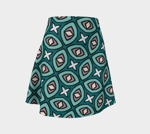 The Tera Flare Skirt in Teal-Clash Patterns