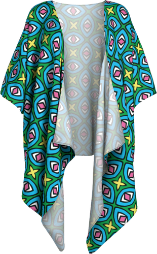 The Tera Kimono in Bright-Draped Kimono-Clash Patterns by Jennifer Akkermans