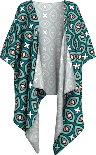 The Tera Kimono in Teal-Draped Kimono-Clash Patterns by Jennifer Akkermans