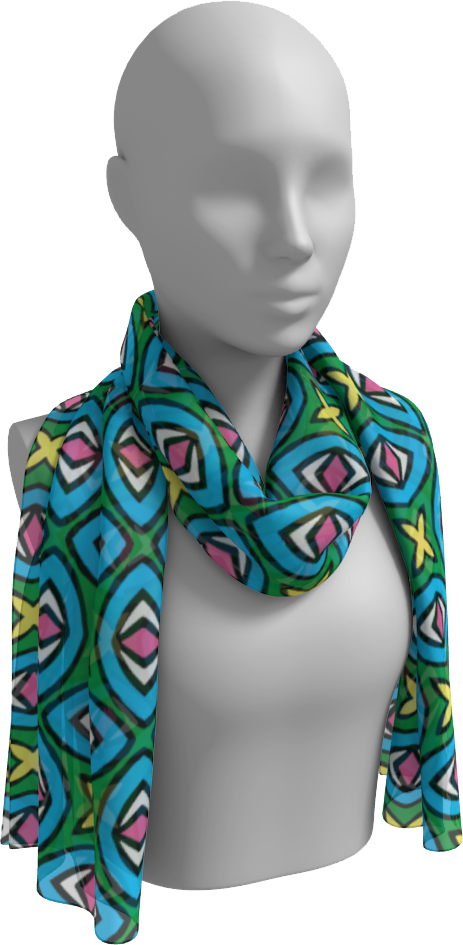 The Tera Long Scarf in Bright-Long Scarf-Clash Patterns by Jennifer Akkermans