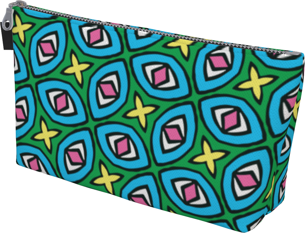 The Tera Makeup Bag in Bright-Makeup Bag-Clash Patterns by Jennifer Akkermans