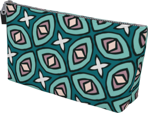 The Tera Makeup Bag in Teal-Makeup Bag-Clash Patterns by Jennifer Akkermans