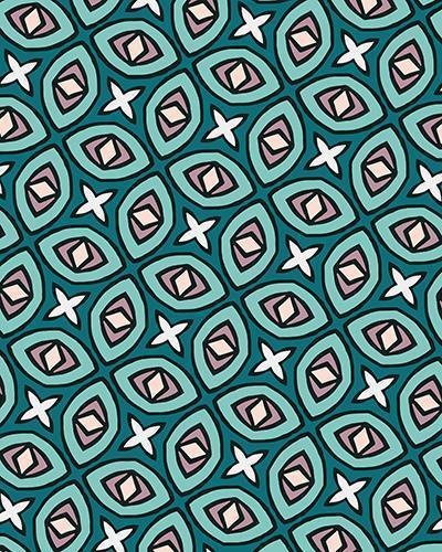 The Tera Print-at-Home Art Print in Teal - Digital Download-Clash Patterns