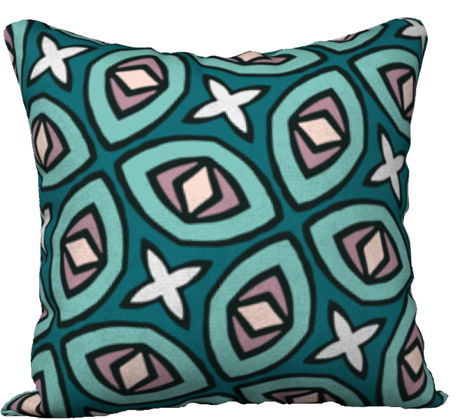 The Tera Reversible Pillow in Teal