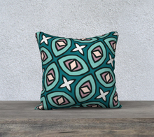 Load image into Gallery viewer, The Tera Reversible Pillow in Teal-Clash Patterns
