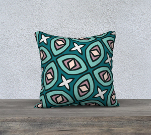 The Tera Reversible Pillow in Teal-Clash Patterns