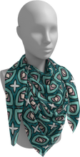Load image into Gallery viewer, The Tera Square Scarf in Teal-Square Scarf-Clash Patterns by Jennifer Akkermans