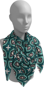The Tera Square Scarf in Teal-Square Scarf-Clash Patterns by Jennifer Akkermans