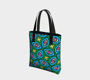 The Tera Tote Bag in Bright-Clash Patterns