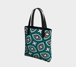 The Tera Tote Bag in Teal-Clash Patterns