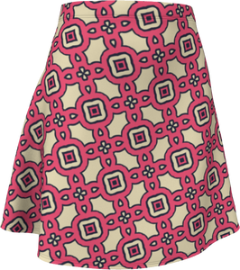 The Tiffany Flare Skirt in Pink Lemonade-Flare Skirt-Clash Patterns by Jennifer Akkermans