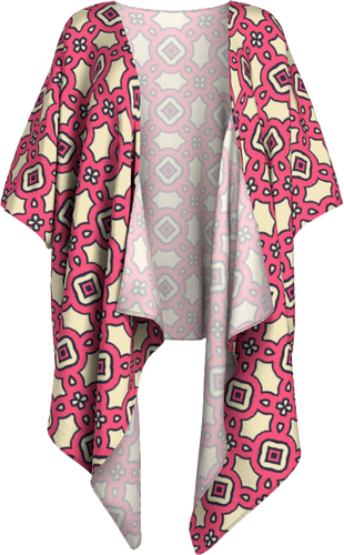 The Tiffany Kimono in Pink Lemonade-Draped Kimono-Clash Patterns by Jennifer Akkermans