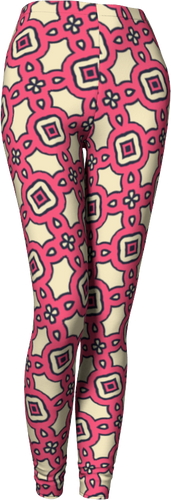 The Tiffany Leggings in Pink Lemonade-Leggings-Clash Patterns by Jennifer Akkermans