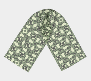 The Tiffany Long Scarf in Avocado Green-Clash Patterns