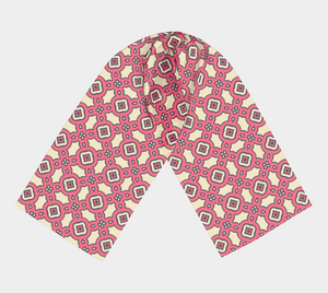 The Tiffany Long Scarf in Pink Lemonade-Clash Patterns