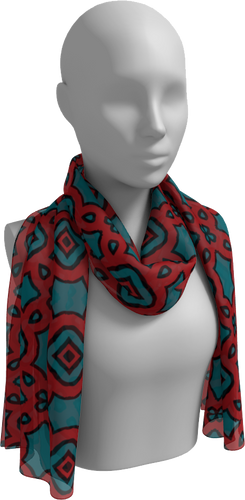 The Tiffany Long Scarf in Red and Teal-Long Scarf-Clash Patterns by Jennifer Akkermans