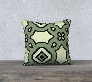 The Tiffany Reversible Pillow in Avocado Green-Clash Patterns