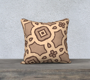 The Tiffany Reversible Pillow in Coffee-Clash Patterns