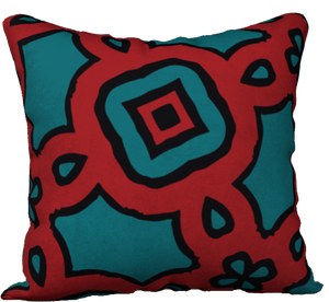 The Tiffany Reversible Pillow in Red and Teal