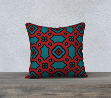 Load image into Gallery viewer, The Tiffany Reversible Pillow in Red and Teal-Clash Patterns