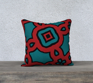 The Tiffany Reversible Pillow in Red and Teal-Clash Patterns
