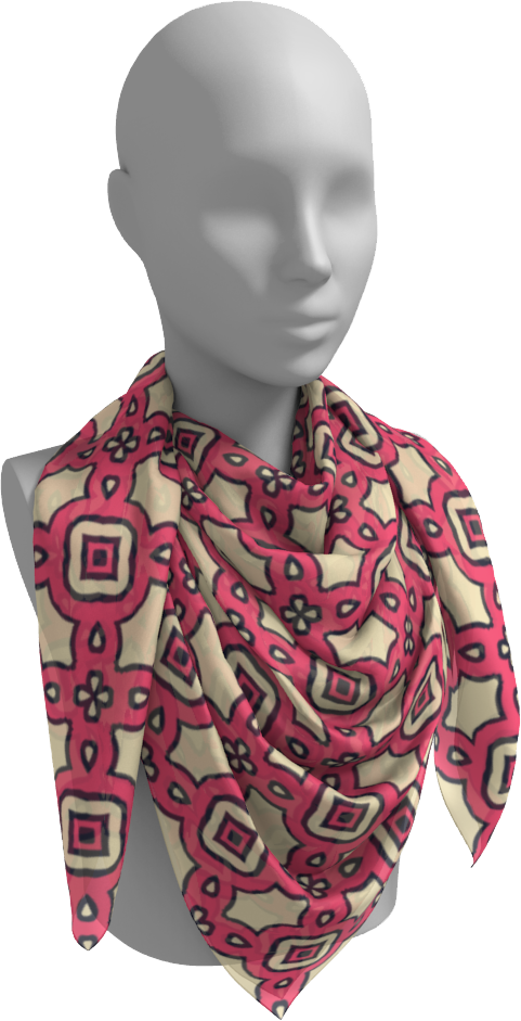The Tiffany Square Scarf in Pink Lemonade