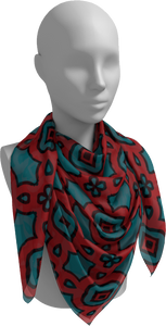 The Tiffany Square Scarf in Red and Teal