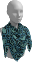 Load image into Gallery viewer, The Tiffany Square Scarf in Teal-Square Scarf-Clash Patterns by Jennifer Akkermans