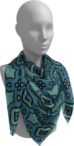 The Tiffany Square Scarf in Teal-Square Scarf-Clash Patterns by Jennifer Akkermans