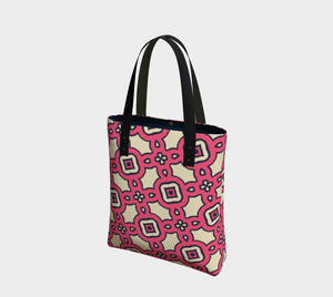 The Tiffany Tote Bag in Pink Lemonade-Clash Patterns