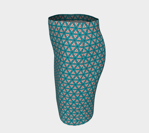 The Tracy Fitted Skirt in Teal and Coral-Clash Patterns