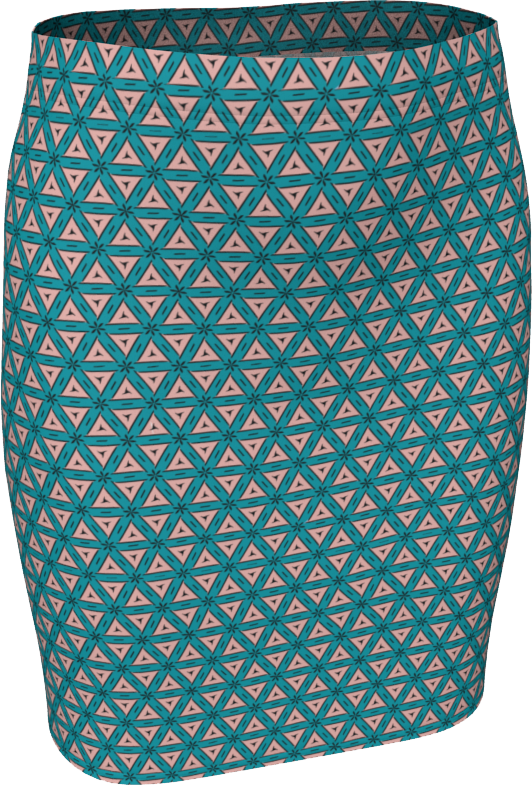 The Tracy Fitted Skirt in Teal and Coral