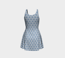 Load image into Gallery viewer, The Tracy Flare Dress in Blue and White-Clash Patterns
