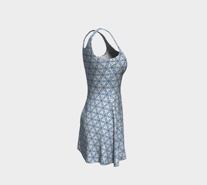 The Tracy Flare Dress in Blue and White-Clash Patterns