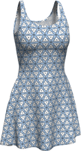 Load image into Gallery viewer, The Tracy Flare Dress in Blue and White