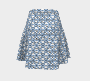 The Tracy Flare Skirt in Blue and White-Clash Patterns
