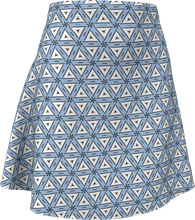 Load image into Gallery viewer, The Tracy Flare Skirt in Blue and White-Flare Skirt-Clash Patterns by Jennifer Akkermans