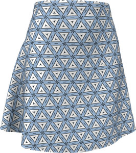 The Tracy Flare Skirt in Blue and White-Flare Skirt-Clash Patterns by Jennifer Akkermans