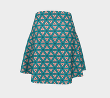 Load image into Gallery viewer, The Tracy Flare Skirt in Teal and Coral-Clash Patterns
