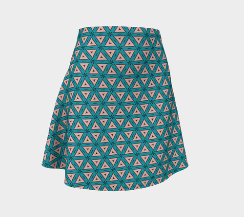 The Tracy Flare Skirt in Teal and Coral-Clash Patterns