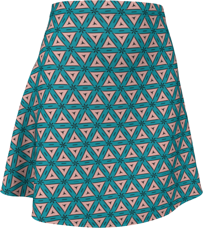 The Tracy Flare Skirt in Teal and Coral