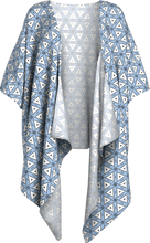 Load image into Gallery viewer, The Tracy Kimono in Blue and White-Draped Kimono-Clash Patterns by Jennifer Akkermans
