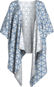 The Tracy Kimono in Blue and White-Draped Kimono-Clash Patterns by Jennifer Akkermans