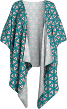 Load image into Gallery viewer, The Tracy Kimono in Teal and Coral-Draped Kimono-Clash Patterns by Jennifer Akkermans